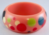 Evans 5 peachy pink random dot resin bangle