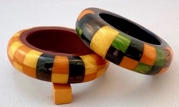 AB52 super chunky Howard Kronimus checkerboard Bakelite Bangles