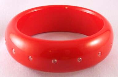 AB17 tomato red bakelite bangle w CZs