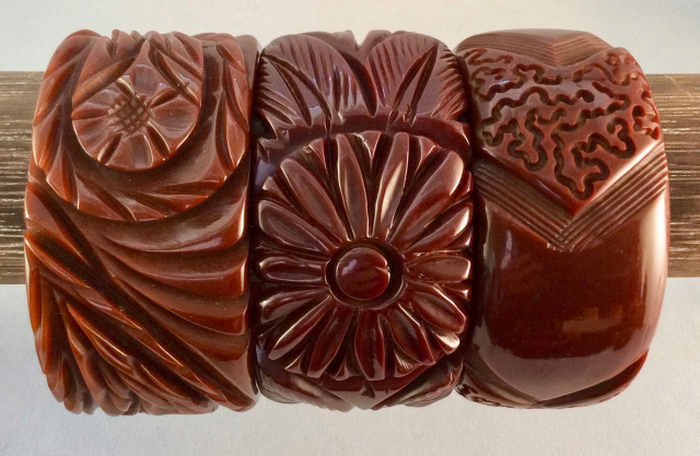 BB64 wide carved chocolate bangles