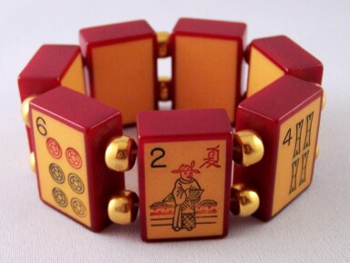 AB14 two tone cased bakelite mahjong stretch bracelet