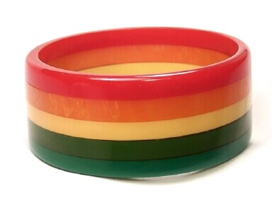 AB13 Moe wide rainbow stripe bakelite bangle