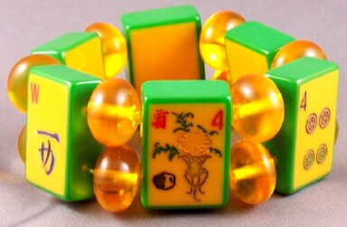 AB15 corn/green cased mahjong tile bracelet