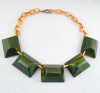 BN5 green chunky rectangle bake necklace