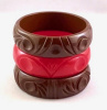 BB14 red & brown carved bangles