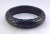 BB296 true black flower carved bangle