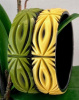 LG163 contemporary 2 tone carved lucite bangles