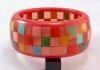 JE23 Judith Evans wide mini check resin bangle with rose border