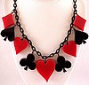 JE36 Judith Evans red & black resin card suite necklace