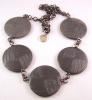 PO62  PONO pewter grey disc necklace