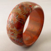 PO33  tan brown flowers cut back to multicolor resin bangle